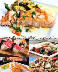 seafood dishes suitable for fish restaurant leaflets www.brochure-designers.co.uk #fish #seafood #leafletdesign