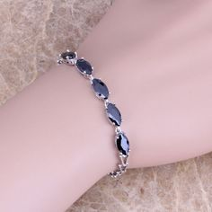 Trendy Black Created Sapphire 925 Sterling Silver  Link Chain Bracelet 7 inch  S0335