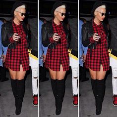 For the club Red plaid men's top - thigh high boots