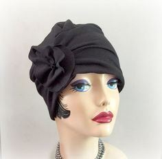 Black Turban Cloche, Flapper Style Hat, Trendy Hat, Chemo Hat, Flower Accessory, The Evie, Gatsby Style Hat, 1920's Hat, Handmade in the USA
