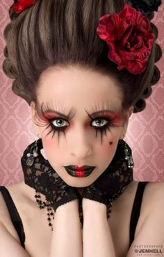 queen of hearts makeup | Halloween Makeup / Victorian queen of hearts.