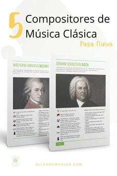 Descarga gratis nuestra guía sobre 5 biografías de compositores de música clásica para niños: claras, resumidas y con sugerencias musicales. Sebastian Bach, Amadeus Mozart, Orchestra, Instruments, Musicals, Teachers