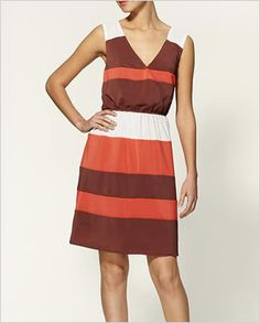 colour block coral and brown dress