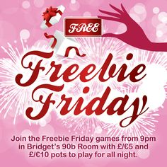It's FREEBY FRIDAY Time ! Join us from in Bridget's Room with and pots to play for all night. The best thing is: it's totally free, no deposits required. Bingo Sites, Casino Games, Free Games, Pots, Friday, Neon Signs, Night, Pottery