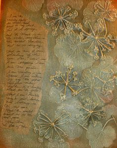 † Love this - dried naturals arranged and gesso'd to canvas, color applied in layers (tutorial explains how), with written piece to accompany it. I think I'd play with doing the written piece on fabric instead of paper, but I love this idea! from CollageLAB
