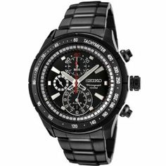Seiko Men's SNAC91 Chronograph Black Dial Gun Metal Stainless Steel Alarm Watch Seiko. $188.64. Black dial with luminous silver-tone hands and hour markers; white subdial hands and red second hand; 12-hour alarm function; tachymeter scale engraved on black bezel. Durable mineral hardlex crystal; brushed and polished gun metal stainless steel case with black composite accents; gun metal stainless steel bracelet. Chronograph functions with 60 second, 60 minute and 12 hour s...