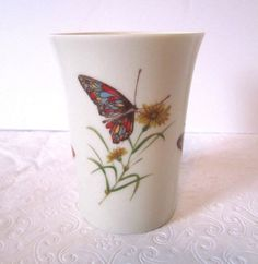 Butterfly Vanity Cup Takahashi San Francisco Flowers Porcelain Glass Desk Decor #Takahashi