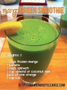 mango green smoothie. This green smoothie is downright heavenly! Want to get some greens into your kids and have them begging for more? Give them this! You cannot even taste the spinach in this recipe thanks to the flavor combo from the mangos, banana and fresh squeezed orange juice. Just put it all in your blender until creamy, sip (or slurp) and enjoy!