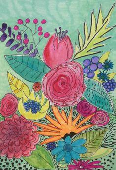 Floral abstract painting. By Rosalina Bojadschijew www.artonthemoon.com https://www.etsy.com/shop/LaniLight