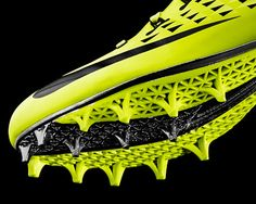 The new 'NIKE vapor laser talon' football boot incorporates a lightweight 3D printed plate that helps players significantly improve their 40-yard dash time.