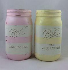 Pastel striped mason jars by Therefurbishednest on Etsy, $20.00