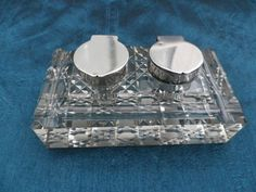 Antique silver inkwell cut glass base double pot by Taingtiques