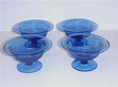 DEPRESSION COBALT BLUE GLASS FOOTED SHERBETS