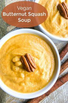Vegan Butternut Squash Soup Recipe #ButternutSquash #ButternutSquashRecipes #VeganSoup #VeganSoupRecipes