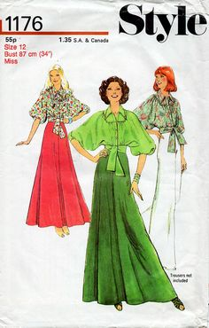 1970s Blouse and Skirt Pattern Style 1176 by BessieAndMaive