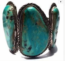 269 GRAMS - Huge Navajo Royston Turquoise SS Vintage Ceremonial Cuff