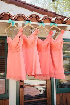 Coral bridesmaids' dresses // Recreate this wedding look at shopmrmrs.com <3