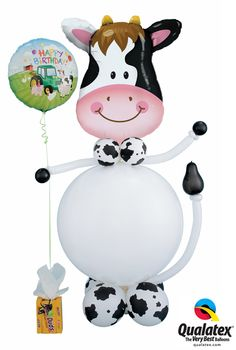 Wish someone a happy birthday with this adorable cow made out of balloons! Click through to find a balloon professional near you. #farm #cow #holstein