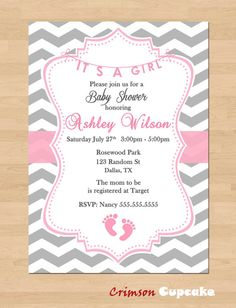 Printable Chevron Girl Pink Grey Baby Shower Invitation Its a girl!