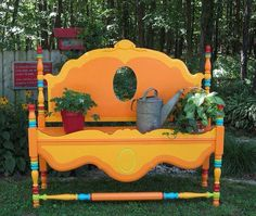 Look what you can make from an old headboard and footboard. Would be so pretty in the garden. Just need some paint.