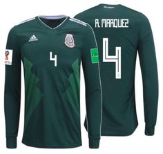 26dd253444d Adidas rafael marquez mexico long sleeve home jersey world cup 2018 patches