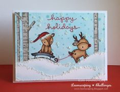 the Lawn Fawn blog: Fawny Holiday Christmas Card by Kim Hamilton (using Tobaggan Together and Joy To The Woods)