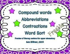 Word Work Center Compound Words Contractions Abbreviations