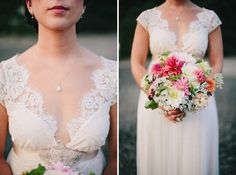Real bride Jensine in the Claire Pettibone 'Queen Anne's Lace' wedding dress from The Dress Theory (Nashville, TN) | Photo: Ryan Flynn Photography http://www.clairepettibone.com/queen_annes_lace