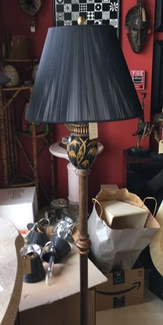 """Floor lamp with a touch of Oriental design. Black and brushed gold with a special, black, silk cord shade. 3-way bulb for reading and room lighting. 62"""" overall height. #lamps #floorlamps #sarasota #sarasotaconsignments #consignments #consignmentstore #homedecor #furniture"""