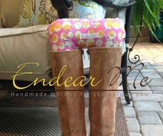 boot holder, boot stuffer Boots Up by Endear Me Handmade boot stuffer in Pink and Yellow Polka dot cotton fabric - closet organizer; boot trees