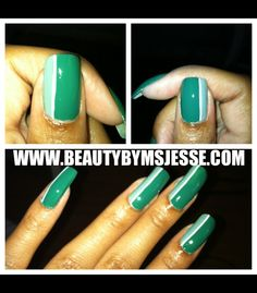 Green Accented nails designed by @BeautyByMsJess. We're loving this look. #Nails
