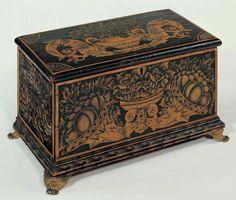 Attributed to Ransom Cook (1794–1881)  Probably Saratoga Springs, New York  c. 1830–1840  Paint and bronze-powder stenciling on wood with brass feet