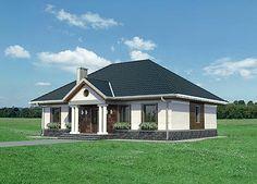 Elewacja prawa projektu Aleksandria - murowana - ceramika Small House Plans, Home Fashion, Gazebo, Shed, Outdoor Structures, Cabin, Mansions, How To Plan, House Styles