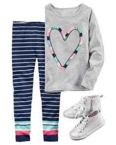 The perfect go-together with her favorite leggings, she's ready for recess in this soft cotton jersey heart graphic tee!