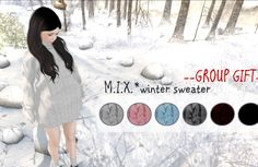 Free Winter Sweater Gift Onesize winter sweater gift in black, gray, pink, red, sky and white. This is a free group gift and the group tag is required...