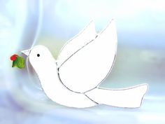 Dove Winter White Christmas Stained Glass by GothicGlassStudio, $34.00