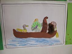 Biber, Ente, Otter und Schildkröte in einem Boot