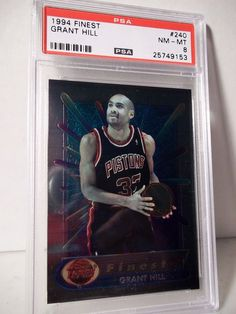 1994 Topps Finest Grant Hill RC PSA NM-MT 8 Basketball Card #240 NBA Collectible…