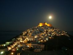 Astypalaia by night Crystal Clear Water, Pebble Beach, Greek Islands, San Francisco Skyline, Night, Building, Places, Travel, Castles