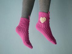 Pink Slipper Socks Lacing Slippers for Women by fizzaccessory, $16.00