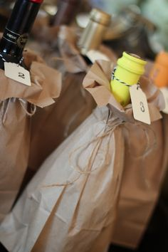 Wine & Cheese Party! we did this about 8 years ago but with black paper bags and brown tags. This is a great memory and love seeing this out there!