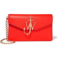 J.W.Anderson Leather shoulder bag (£715) ❤ liked on Polyvore featuring bags, handbags, shoulder bags, red, genuine leather handbags, anchor purse, red purse, evening handbags and leather shoulder handbags