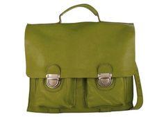 cartable maternelle en cuir vert Matcha