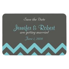 Charcoal and Aqua Chevron Wedding Save the Date Vinyl Magnet