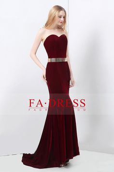 2016 Sweetheart Sheath Prom Dresses Velvet With Sash Sweep Train Burgundy/Maroon