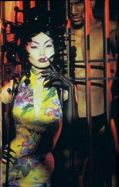 "a-state-of-bliss:""Thierry Mugler 1993 - Irina Panteava & Vladimir McCrary"" Chinoiserie, Irina Pantaeva, Fashion Pattern, Art Photography, Fashion Photography, Paisley, Thierry Mugler, Grafik Design, Art Inspo"