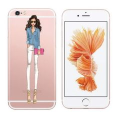Fashionable Dress Shopping Girl Clear Transparent Soft Silicone Rubber Case For Iphone 6 6s Case