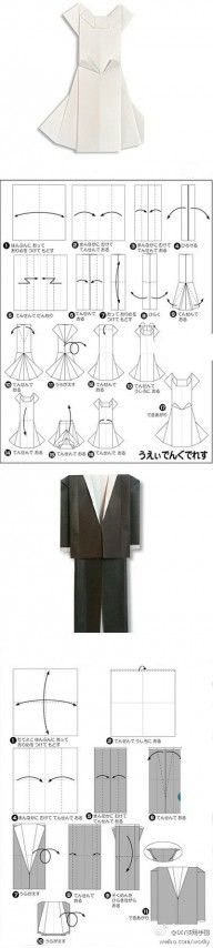 Origami Wedding Dress and Suit Folding Instructions