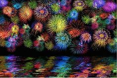 Rainbow Fireworks | Fireworks over the water