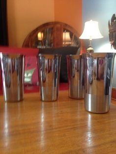 Four Art Deco Chase Chrome Tumblers (Chase Copper and Brass Co.) #ChaseCopperandBrass